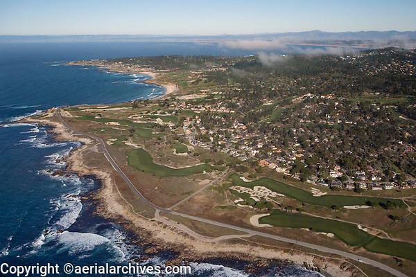 aerial photograph of 17 Mile Drive, Monterey Peninsula Country Club, Pebble Beach, Monterey County, California