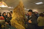 Straw Bear Festival. Whittlesea Whittlesey Cambridgeshire UK 2008. Straw Bear in pub.