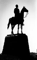General Meade Statue, Gettysburg Civil War Battlefield, Gattysburg National Military Park, Gettysburg, Pennsylvania, photographed on Kodak T-Max Film with Canon EOS Elan 7NE SLR 35mm film camera, September 2018. (Photo by Brian Cleary/bcpix.com)