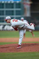 Oklahoma Sooners starting pitcher Levi Prater (25) follows through on his delivery against the Missouri Tigers in game four of the 2020 Shriners Hospitals for Children College Classic at Minute Maid Park on February 29, 2020 in Houston, Texas. The Tigers defeated the Sooners 8-7. (Brian Westerholt/Four Seam Images)