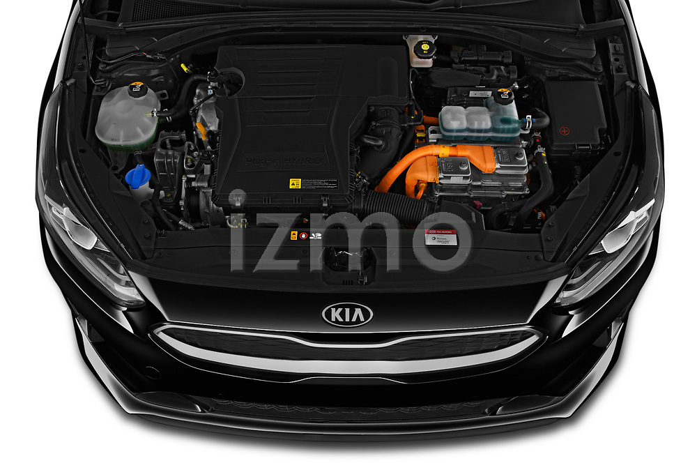 Car Stock 2020 KIA Ceed-SW-PHEV Business-Line 5 Door Wagon Engine  high angle detail view