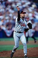 John Smoltz of the Atlanta Braves participates in a Major League Baseball game at Dodger Stadium during the 1998 season in Los Angeles, California. (Larry Goren/Four Seam Images)
