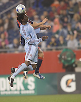 Colorado Rapids defender Ugo Ihemelu (4) battles for a head ball. The New England Revolution tied the Colorado Rapids, 1-1, at Gillette Stadium on May 16, 2009.