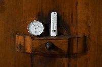 tank door hygrometer thermometer on fermentation vat domaine bonserine ampuis rhone france