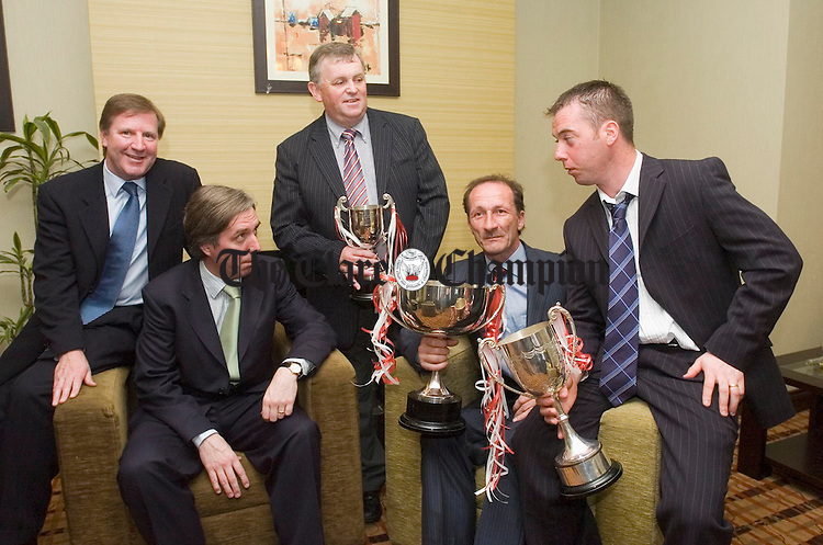 Special guest Ronnie Whelan, John Delaney CEO of the FAI Ger Kennedy, club chairman, Gerry Halpin, manager junior team and David O Brien, team captain pictured at the Corofin Harps FC 40th anniversary celebrations at the West County hotel. Photograph by John Kelly.
