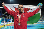 Wales Daniel Jervis celebrates winning Silver in the Mens 1500m Final <br /> <br /> *This image must be credited to Ian Cook Sportingwales and can only be used in conjunction with this event only*<br /> <br /> 21st Commonwealth Games - Swimming -  Day 6 - 10\04\2018 - Gold Coast Optus Aquatic centre - Gold Coast City - Australia