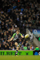 Nick Evans of Harlequins takes a drop kick during the Aviva Premiership match between Harlequins and Saracens at Twickenham on Tuesday 27 December 2011 (Photo by Rob Munro)