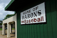 Sign outside Rickwood Field, the oldest surviving professional baseball park in the United States, first opening on August 18, 1910, as home for the Birmingham Barons.  Image taken on April 16, 2013 in Birmingham, Alabama.  (Mike Janes/Four Seam Images)