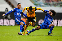 7th February 2021; Molineux Stadium, Wolverhampton, West Midlands, England; English Premier League Football, Wolverhampton Wanderers versus Leicester City; Nélson Semedo of Wolverhampton Wanderers tries to thread his way past Youri Tielemans and Hamza Choudhury of Leicester City