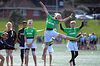 The Ireland team warms up on dy two of the 2019 Air NZ Rippa Rugby Championship at Wakefield Park in Wellington, New Zealand on Tuesday, 27 August 2019. Photo: Dave Lintott / lintottphoto.co.nz