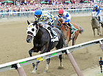 Laoban (no. 2), ridden by Jose Ortiz and trained by Eric Guillot, wins the 53rd running of the grade 2 Jim Dandy Stakes for three year olds on July 30, 2016 at Saratoga Race Course in Saratoga Springs, New York. (Bob Mayberger/Eclipse Sportswire)