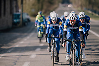 The Team Quickstep Floors race take-over: hijacking it by simply riding off the front of the peloton with 7 (!) riders of the team (and 3 hangers-on holding on for dear life...)<br /> Philippe Gilbert (BEL/Quick Step floors) forcing the pace.<br /> <br /> 50th GP Samyn 2018<br /> Quaregnon > Dour: 200km (BELGIUM)