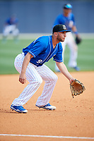 Biloxi Shuckers third baseman George Iskenderian (9) during a game against the Jackson Generals on April 23, 2017 at MGM Park in Biloxi, Mississippi.  Biloxi defeated Jackson 3-2.  (Mike Janes/Four Seam Images)