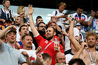 SAMARA - RUSIA, 07-07-2018: Hinchas de Inglaterra animan a su equipo durante partido de cuartos de final entre Suecia y Inglaterra por la Copa Mundial de la FIFA Rusia 2018 jugado en el estadio Samara Arena en Samara, Rusia. / Fans of England cheer for their team during the match between Sweden and England of quarter final for the FIFA World Cup Russia 2018 played at Samara Arena stadium in Samara, Russia. Photo: VizzorImage / Julian Medina / Cont