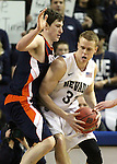 Nevada's Kevin Panzer drives against Bucknell defender Mike Muscala during a second round NIT college basketball game in Reno, Nev. , on Sunday, March 18, 2012. Nevada won 75-67..Photo by Cathleen Allison