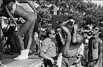 At Haulover Park in North Miami Beach a contestants in the best body contest perform for the audience. Some contestants bared their breasts.