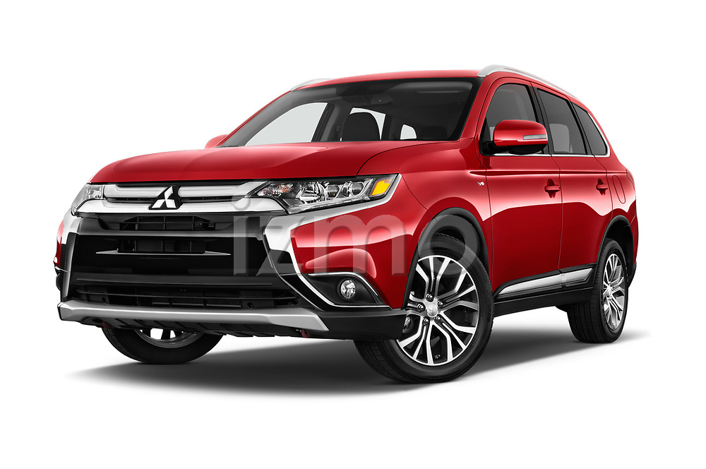 Stock pictures of low aggressive front three quarter view of a 2018 Mitsubishi Outlander GT 4WD 5 Door SUV