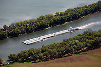 aerial photograph barge Illinois Waterway, Illinois River