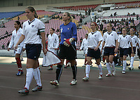 January 26, 2007:  The USWNT and Germany tied, 0-0. USWNT, Cat Whitehill wears the captain's armband on the day of her 100th US cap.