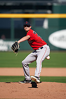 Boston Red Sox pitcher Garrett Whitlock (72) during a Major League Spring Training game against the Atlanta Braves on March 7, 2021 at CoolToday Park in North Port, Florida.  (Mike Janes/Four Seam Images)
