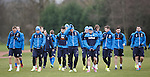 Rangers players get ready for another training session ahead of tomorrow's match at bogey ground the Indodrill