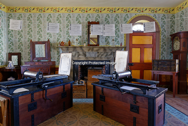 Printing presses at Appomattox Court House, Virginia. They were used to print parole papers to aid 30,000 Confederate soldiers as they travelled home after the surrender.