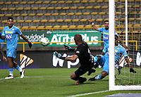 BOGOTÁ- COLOMBIA, 04-09-2021:Kevin Salazar (Fuera de foto) de La Equidad convierte el  gol de su equipo durante partido por la fecha 8 entre La Equidad y Jaguares de Córdoba como parte de la Liga BetPlay DIMAYOR II 2021 jugado en el estadio Metropolitano de Techo de la ciudad de Bogotá. /Kevin Salazar of La Equidad (Out foto) scores the goal of his team during Match for the date 8 between La Equidad and Jaguares de Cordoba as part of the BetPlay DIMAYOR League II 2021 played at stadium in Metropolitano de Techo in Bogota city. Photo: VizzorImage / Felipe Caicedo / Staff