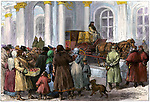 Citizens at the entrance to the Winter Palace, St Petersburg, Russia, 1881. Hand-colored woodcut