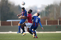 Willim Cracknell of Maldon and Jordan Slew of Morecambe during Maldon & Tiptree vs Morecambe, Emirates FA Cup Football at the Wallace Binder Ground on 8th November 2020