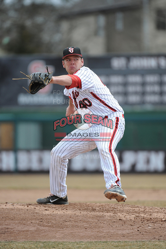 St. John's University Redstorm pitcher James Lomangino (40) during game 1 of a double header against the University of Cincinnati Bearcats at Jack Kaiser Stadium on March 28, 2013 Queens, New York.  St. John's defeated Cincinnati 6-5 in game 1.                                                                      (Tomasso DeRosa/ Four Seam Images)