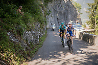 Daniel Martin (IRE/QuickStep Floors) & Jakob Fuglsang (DEN/Astana) manage to break free from the leaders group and storm their way up the finishing (& GC decisive) climb of the Dauphiné: the Plateau de Solaison (HC/1508m/11.3km @9.2%)<br /> <br /> 69th Critérium du Dauphiné 2017<br /> Stage 8: Albertville > Plateau de Solaison (115km)