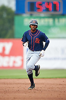 Bowing Green Hot Rods right fielder Manny Sanchez (17) runs the bases after hitting a home run during a game against the Burlington Bees on May 7, 2016 at Community Field in Burlington, Iowa.  Bowling Green defeated Burlington 11-1.  (Mike Janes/Four Seam Images)