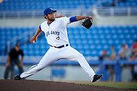 Dunedin Blue Jays relief pitcher Ryan Cook (32) delivers a pitch during a game against the Clearwater Threshers on April 8, 2017 at Florida Auto Exchange Stadium in Dunedin, Florida.  Dunedin defeated Clearwater 12-6.  (Mike Janes/Four Seam Images)