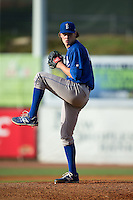 Burlington Royals starting pitcher Ashe Russell (43) in action against the Bristol Pirates at Boyce Cox Field on July 10, 2015 in Bristol, Virginia.  The Pirates defeated the Royals 9-4. (Brian Westerholt/Four Seam Images)