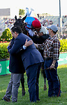 May 1, 2021 : Connections celebrate Medina Spirit, #8, ridden by jockey John Velazquez, winning the 147th running of the Kentucky Derby on Kentucky Derby Day at Churchill Downs on May 1, 2021 in Louisville, Kentucky. Candice Chavez/Eclipse Sportswire/CSM