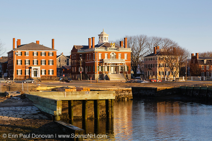 The Brookhouse House (left), Custom House (center) and the Hawkes House (right) in Salem, Massachusetts. These three buildings are part of the Salem Maritime National Historic Site.