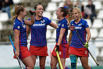 GER - Mannheim, Germany, October 09: During the women hockey match between Mannheimer HC (blue) and Ruesselsheimer RK (red) on October 9, 2016 at Mannheimer HC in Mannheim, Germany. Final score 6-0 (HT 1-0). (Photo by Dirk Markgraf / www.265-images.com) *** Local caption *** Nike Lorenz #16 of Mannheimer HC, Nikki Kidd #26 of Mannheimer HC, Flor Habif #18 of Mannheimer HC, Lydia Haase #12 of Mannheimer HC