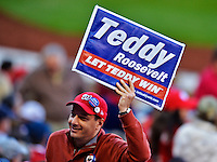 11 October 2012: A Teddy Roosevelt fan shows his enthusiasm with a sign during Postseason Playoff Game 4 of the National League Divisional Series against the St. Louis Cardinals at Nationals Park in Washington, DC. The Nationals defeated the Cardinals 2-1 tying the Series at 2 games apiece. Mandatory Credit: Ed Wolfstein Photo