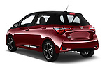 Car pictures of rear three quarter view of a 2018 Toyota Yaris Two tone 5 Door Hatchback angular rear