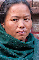 Bhaktapur, Nepal.  Woman with Nose Ring and Nose Pin.
