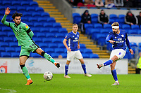 Joe Bennett of Cardiff City has a shot during the FA Cup third round match between Cardiff City and Carlisle United at the Cardiff City Stadium in Cardiff, Wales, UK. Saturday 04 January 2020