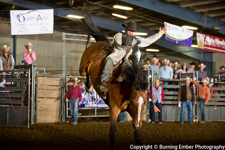 Dylan Sandvick in the Bareback event during the Perf at the Wyoming High School Rodeo May 13th 2017.  Photo by Josh Homer/Burning Ember Photography.  Photo credit must be given on all uses.