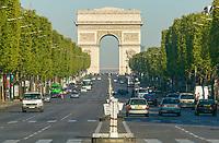 The Arc de Triomphe and avenue Champs-Élysées as viewed from the  Place de la Concorde in Paris, France.