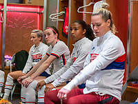 ORLANDO, FL - JANUARY 22: Rose Lavelle #16 of the USWNT sits in the locker room before a game between Colombia and USWNT at Exploria stadium on January 22, 2021 in Orlando, Florida.