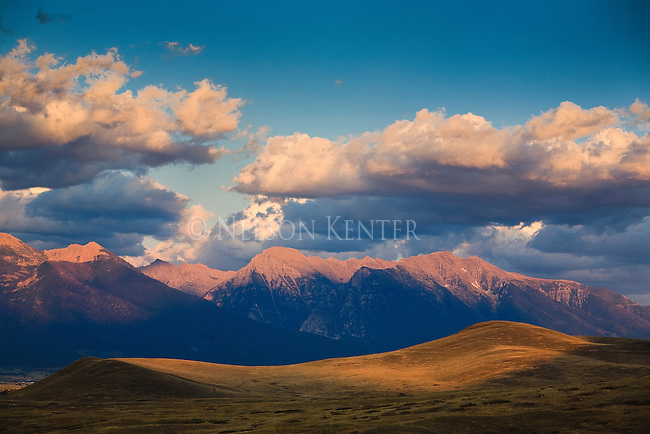 Mission Mountains and hills at sunset