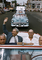 Indiana Congressman William G. Bray waves during 68th Labor Day Parade, September 4-6, 1954, Princeton Indiana. Photo by John G. Zimmerman.