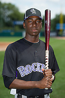 Nick Gordon (83) of Olympia High School in Windermere, Florida poses for a photo while playing for the Colorado Rockies scout team during the East Coast Pro Showcase on August 2, 2013 at NBT Bank Stadium in Syracuse, New York.  (Mike Janes/Four Seam Images)