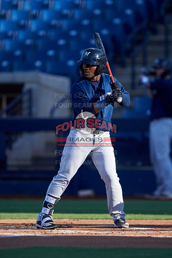 AZL Brewers Blue Jackie Urbaez (8) at bat during an Arizona League game against the AZL Brewers Gold on July 13, 2019 at American Family Fields of Phoenix in Phoenix, Arizona. The AZL Brewers Blue defeated the AZL Brewers Gold 6-0. (Zachary Lucy/Four Seam Images)