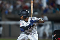 Isiah Gilliam (24) of the Somerset Patriots at bat against the Altoona Curve at TD Bank Ballpark on July 24, 2021, in Somerset NJ. (Brian Westerholt/Four Seam Images)