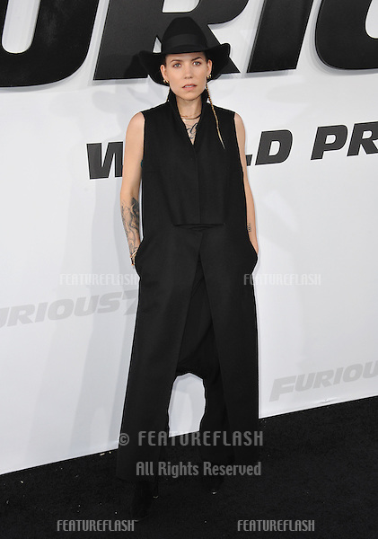 """Singer Skylar Grey at the world premiere of """"Furious 7"""" at the TCL Chinese Theatre, Hollywood.<br /> April 1, 2015  Los Angeles, CA<br /> Picture: Paul Smith / Featureflash"""